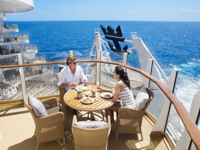 OA, Oasis Suite Class lifestyle, Grand Suite with Balcony, dining, ocean view, cabin, stateroom, Rm 11730, couple, breakfast, ocean in background,